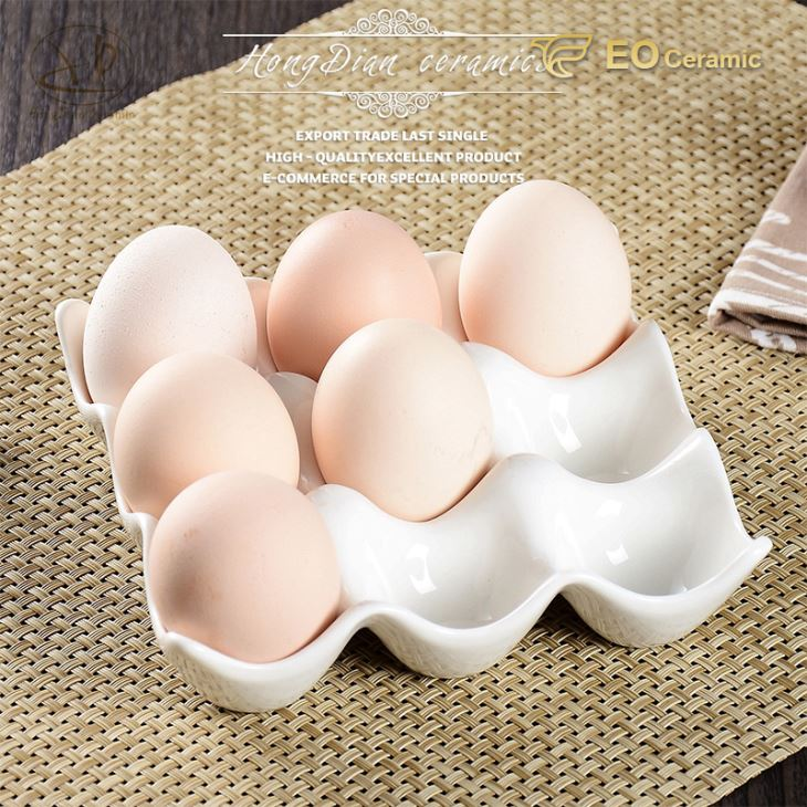 Grids Ceramic Egg Cup Storage Tray