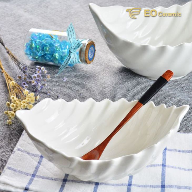 Leaf Shape Ceramic Salad Bowl