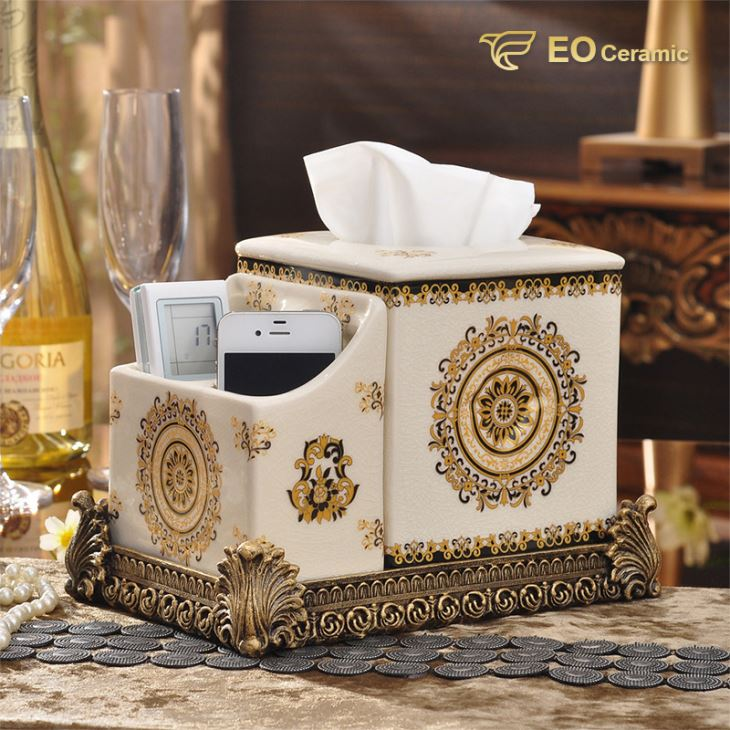 Luxury Ceramic Tissue Box with Storage