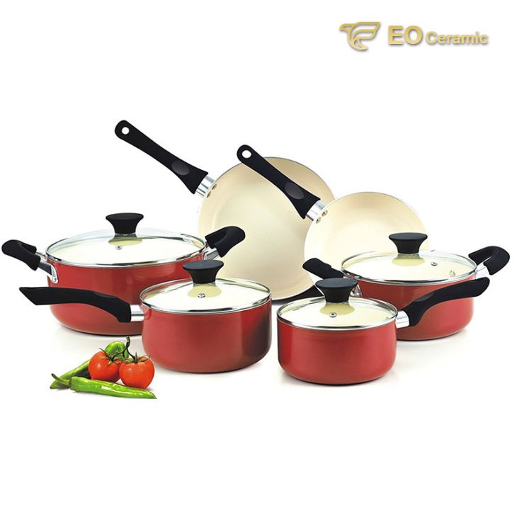 Red Ceramic Cookware Set