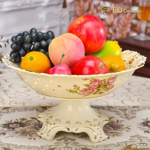 Ceramic Fruit Bowl with Pedestal