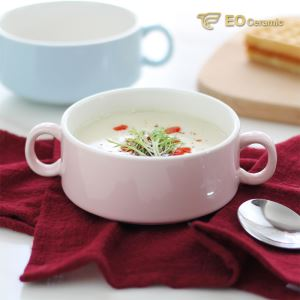 Ceramic Soup Bowl with Double Handle