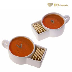 Ceramic Soup Mug with Cracker Place