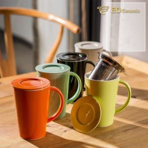Ceramic Tea Mug with Infuser and Lid