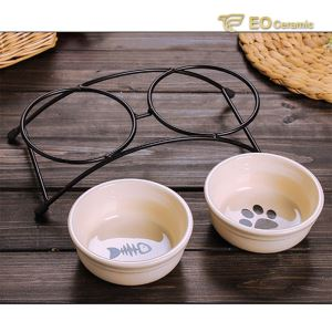 Dual Feeding Ceramic Dog Bowl