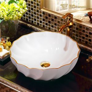 Flower Shape Ceramic Bathroom Sink