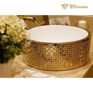Gold Color Ceramic Bathroom Sink