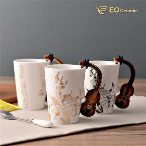 Novelty Guitar Ceramic Tea Mug