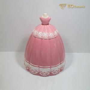 Pink Dress Ceramic Cookie Jar