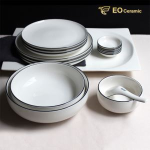 Round White Ceramic Plate Set