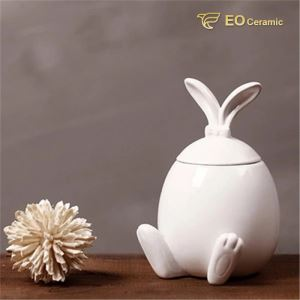 White Rubbit Ear Ceramic Candy Jar