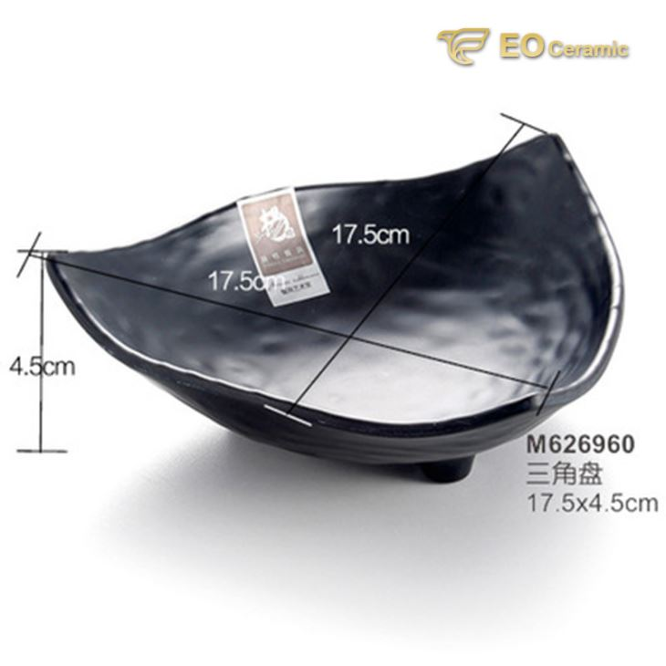Black Matte Triangle Imitation Porcelain Dish