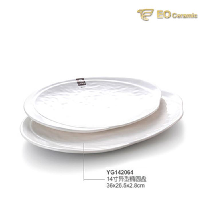 White Rectangular Ears Imitation Porcelain Tray